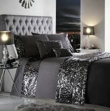 dark bedding sets dazzle sequin detail charcoal grey duvet cover sets all sizes for modern property