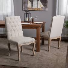 Overstock Living Room Chairs Weathered Hardwood Studded Beige Dining Chair Set Of 2 By