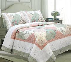 pink quilt bedding. Exellent Pink Cozy Line Home Fashions Floral Patchwork Tiffany Green Pink Lilac Country  100 COTTON Quilt For Bedding U