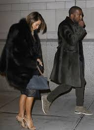 kanye west wears burberry prorsum bonded shearling caban fur coat in philly