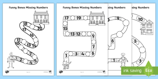 Missing Numbers Worksheets Funny Bones Missing Numbers Worksheet Activity Sheet
