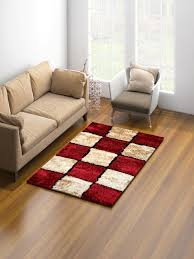 Image Myntra Myntra Romee Red Goldcoloured Woven Antiskid Carpet