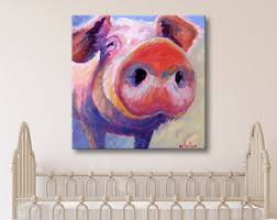 pig print pig canvas print pig art pig decor pig painting canvas print pig canvas wall art farm animal art on pig canvas wall art with original art prints by betsymclellanart on etsy