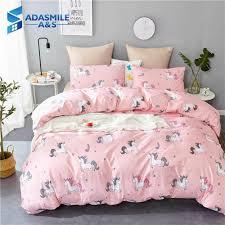 cartoon children bed linens set soft comfortable bedclothes kid pink unicorn pillowcases twin uk queen bedding duvet cover set bedding duvet covers duvets