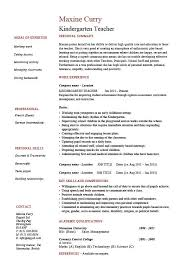 Kindergarten teacher resume, school, example, sample, job description, work  experience, teaching
