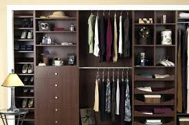 closet with drawers and shelves reach in closet in chocolate apple finish with customized drawers whitmor