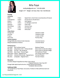 Some Sample Resumes. Sample Dance Resume For Audition Unique 20 ...