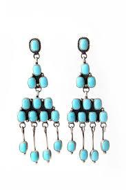 navajo turquoise chandelier earrings silver eagle gallery
