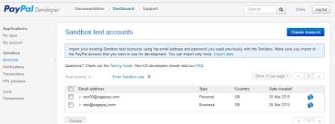 - Paypal Pay Account Test A Sage Creating