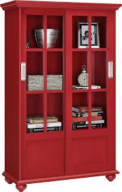 Glass Bookshelf Amazoncom Altra Aaron Lane Bookcase With Sliding Glass Doors