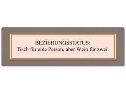 Metallschild Blechschild Beziehungsstatus Tisch Für Einen Wein