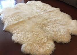 ivory white fur living room rug 6 pelt 5 5 x 6 ft bedroom sheepskin rugs