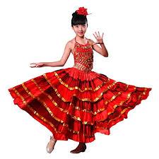 Amazon.com: Girls Red Belly Dance Dress Spanish Flamenco Costume Skirt With  Head Flower: Clothing