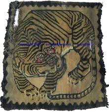late 19th unusual designed tiger rug
