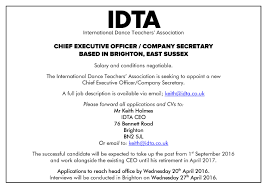 vacancy chief executive officer for idta international dance ceo advert page 001