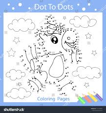 worksheets dot to dots with drawn the cute unicorn children funny drawn riddle coloring