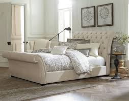 upholstered leather sleigh bed. Astounding Brown Tufted Leather Sleigh Bed Design With Upholstered Also Headboard And Footboard Set Cool White Waverly King Featuring Scroll Button