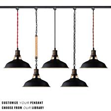 stglighting h type track light pendants black lampshade restaurant chandelier decorative pendant light industrial factory pendant lamp bulb not included