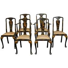 Set of Six Queen Anne Style Chinoiserie Lacquered Dining Chairs