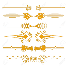 Small Picture Set Of 6 Decorative Page Borders In Golden Colors For Your Design