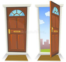 Cartoon Red Door Open And Closed Stock Vector Illustration of
