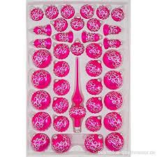39 Tlg Glas Weihnachtskugeln Set In Hochglanz Pink