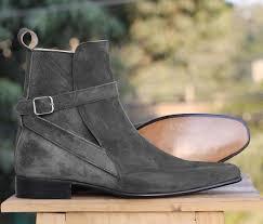 Mens Designer Boots Mens Handmade Gray Ankle Boots Buckle Suede Designer Boots For Men From Leatherworld2014