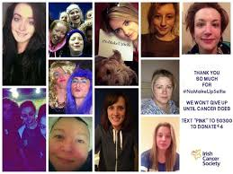 irish cancer society nomakeupselfie caign images from facebook