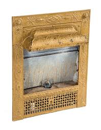 original and intact late 19th century antique american victorian era metallic gold enameled interior residential fireplace