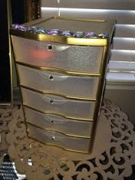 makeup organizer drawers walmart. sterilite plastic drawer from walmart for about $9, sprayed gold and glitter krylon spray paint makeup organizer drawers