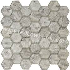 hexagon plank glass mosaic tile