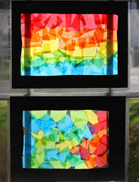colorful rainbow craft for kids make stained glass looking suncatchers and collages from tissue paper