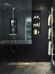 Awesome Bathroom Design Looking Like A Home SPA : Simple Shower Room With  Dark Wall Decor
