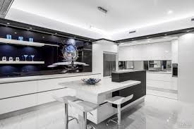 Splashback White Kitchen Black And White Kitchen With Splashback Art On Glass