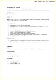 Sample Cv For A Teacher Sample Resume For Fresher Teachers Fresher Teacher Resume Resumes