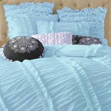 clara blue ruched duvet cover set