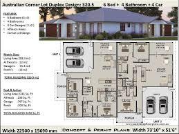 bedrooms corner lot duplex house plans