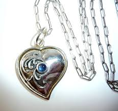 large heart pendant with sapphire cabochon long necklace handmade of 835 silver no reserve