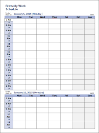 schedule weekly work schedule template