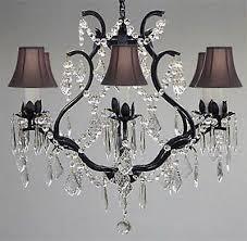 swarovski crystal trimmed wrought iron crystal chandelier lighting h 19
