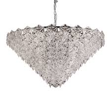mosaic 18 light crystal glass ceiling pendant fitting in chrome finish fl2351 18