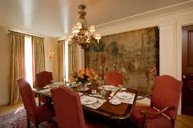 Gray Dining Room With Gray Medallion Curtains Transitional Dining - Formal dining room table decorating ideas