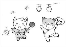 夏祭り1のイラスト素材 日本福祉パステルアート協会