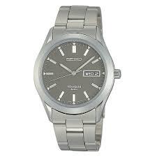 men s seiko watches h samuel seiko men s grey titanium quartz movement watch product number 2263688