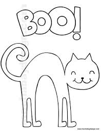 Small Picture Printable Halloween Coloring Page of Cat saying Boo