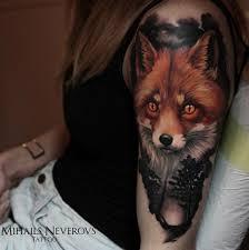 татуировка на плече лиса тату фото пример метла тату