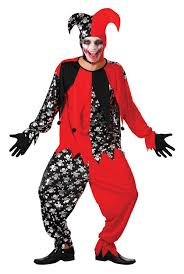 sentinel mens evil jester black red fancy dress costume joker card outfit new
