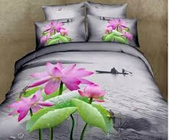 3d water lily lotus fl bedding sets king queen size quilt duvet cover sheets bed in a bag bedsheet bedroom linen 100 cotton spread white comforter set