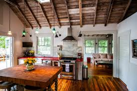 Basement lighting exposed ceiling kitchen farmhouse with exposed