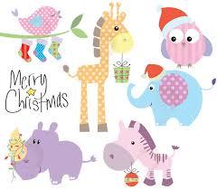 christmas elephant clip art. Delighful Christmas Christmas Clip Art Baby Animals Cute Clipart Pastel Digital  Download Xmas Elephant Giraffe Zebra Intended R